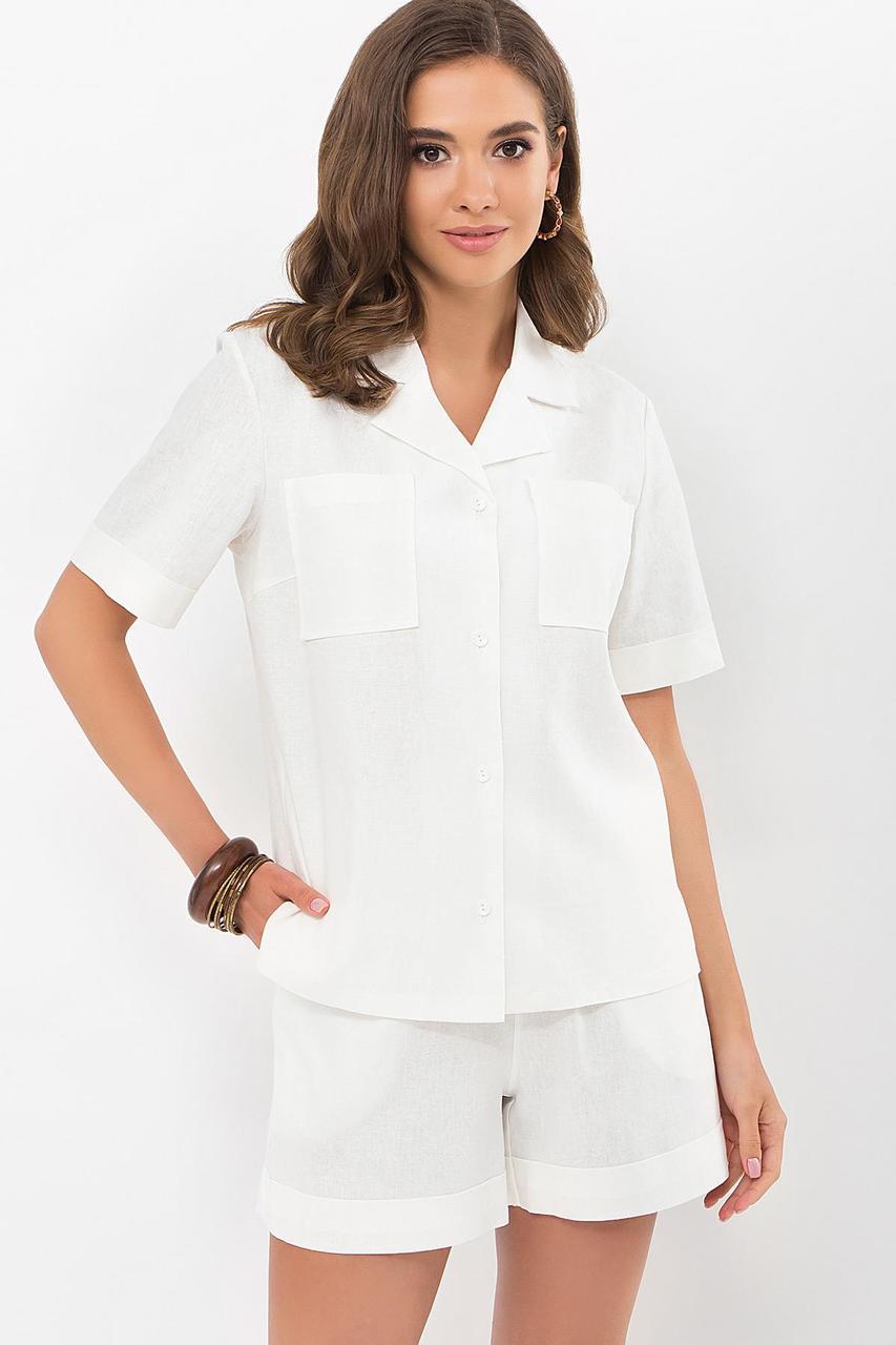 Костюм літній жіночий лляної сорочки і шорти блакитний Ральфа