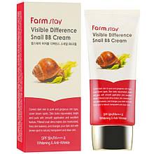 Восстанавливающий бб крем с экстрактом улитки Farmstay Visible Difference Snail BB Cream SPF-40 50г