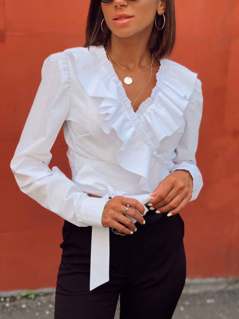 Ширикная белая блузка на запах «Валета»