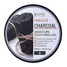 Увлажняющий гель для лица и тела с древесным углём Jigott Natural Charcoal Moisture Soothing Gel 300 мл