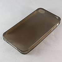 Чехол-накладка для iPhone 4/4S, ультратонкий силиконовый, черный /case/кейс /айфон