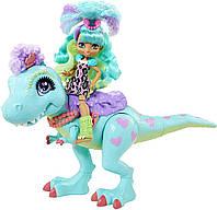 Игровой набор прогулка с динозавром кукла Рокелль и Динозавр Тирасаурус Cave Club Rockelle & Tyrasaurus Doll