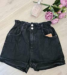Чорні джинсові шорти високій посадці