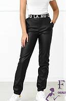 Шкіряні жіночі джоггери з кишенями 023 В, фото 1