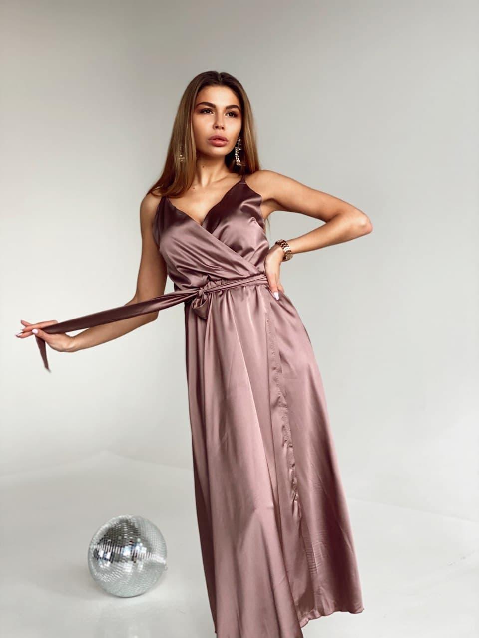 Шовкова сукня міді на бретелях із спідницею на запах (р. S-M) 66032365Q