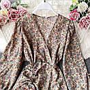 Шифонове плаття з запахом в квітковий принт і затяжкою на спідниці (р. 42-44) 68032367, фото 4