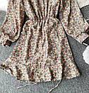 Шифонове плаття з запахом в квітковий принт і затяжкою на спідниці (р. 42-44) 68032367, фото 6