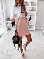 Повседневные платья - 4200 - Стильное женское платье туника с длинным рукавом трехцветное