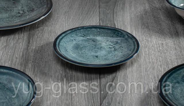 Порцелянова тарілка десертна синя