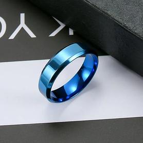 Полностью Синее мужское кольцо 6 мм. Размеры: 17-22. Кольцо для мужчин и парней