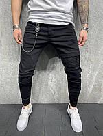Джинсы мужские узкие с рифлением черные 2Y