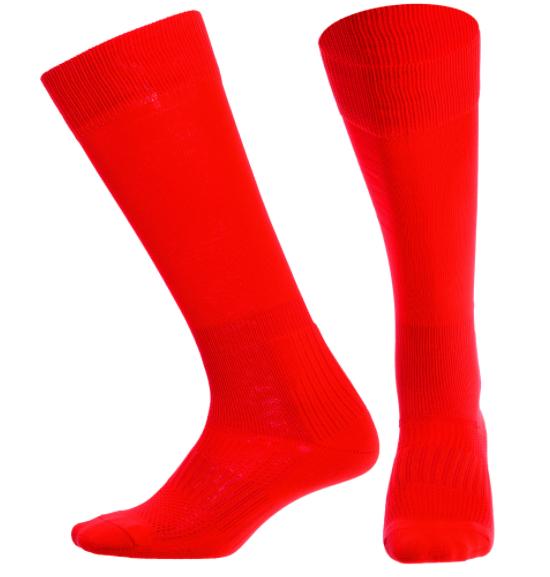 Гетры футбольные юниорские KS-02M (полиэстер 83гр, размер 32-39, цвет красный)