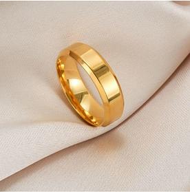Полностью золотистое мужское кольцо 6 мм. Размеры:17-23. Обручальные кольца для мужчин и парней