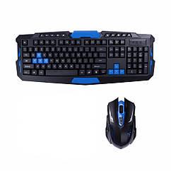 Беспроводная игровая клавиатура и мышь UKC HK-8100 Черный с синим 005761, КОД: 1765917