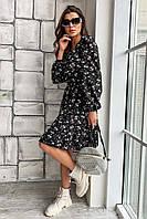 Чорне літнє плаття з квітковим принтом і рюшами