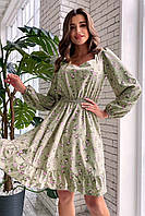 Оливкова літнє плаття з квітковим принтом і рюшами