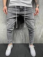 Джинсы узкие мужские серые со шнурками 2Y
