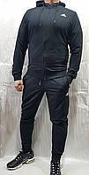 Мужской спортивный костюм Adidas с капюшоном тёмно-синий демисезонный весна осень трикотажный