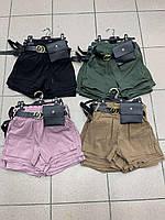 Подростковые коттоновые шорты для девочки с сумочкой 6-16 лет, цвет уточняйте при заказе