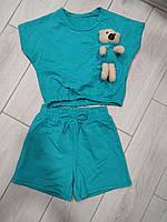 Детский хлопковый костюм для девочки с шортами Мишка размер 4-14 лет, цвет уточняйте при заказе