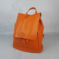 """Рюкзак жіночий """"Неаполь"""" натуральна шкіра, помаранчевий флотар"""