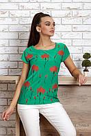 Бирюзовая футболка с красным цветочным принтом, женская, летняя