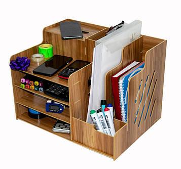 Дерев'яний органайзер настільний 39*29*28 див. офісний, канцелярський | підставка для документів та канцелярії