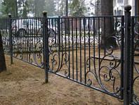 Кованый забор с профнастилом