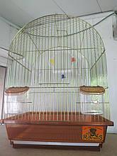Клетка для птиц с овальной крышей и внешними кормушками цвета хамелеон (35*28*46 см)