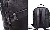 Чоловічий шкіряний рюкзак для ноутбука і поїздок Tiding Bag B2-14657A чорний, фото 3