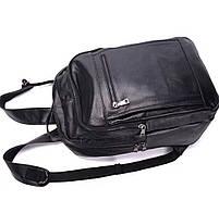 Чоловічий шкіряний рюкзак для ноутбука і поїздок Tiding Bag B2-14657A чорний, фото 4