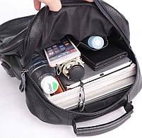 Чоловічий шкіряний рюкзак для ноутбука і поїздок Tiding Bag B2-14657A чорний, фото 5