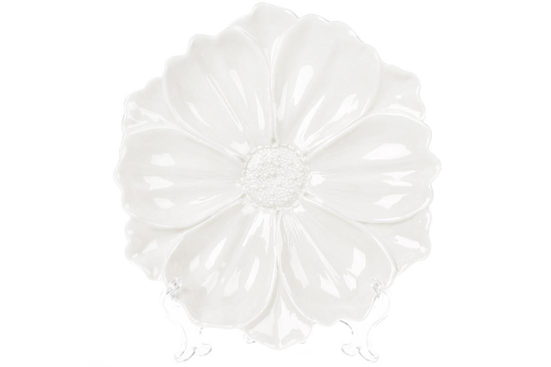 Декоративная тарелка Цветок, 24см, цвет - белый BonaDi 727-255