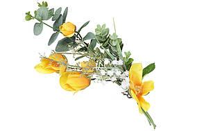 Декоративна гілка кольорів Камелії, 47см, колір - жовтий BonaDi DY7-302
