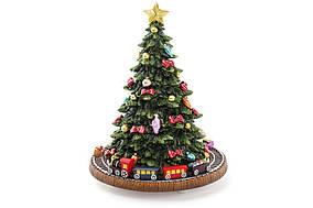 """Декоративна Ялинка з рухомим поїздом 18.5 см з музикою """"Happy New Year"""" на заводном механізмі BonaDi 559-230"""