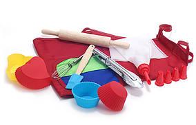 Дитячий набір для випічки (10предметів): 1шт фартух; 4шт міні-форм для випічки; 1шт міні-сталеві щипці; 1шт