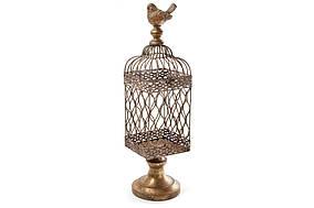 Декоративная клетка-подсвечник с птичкой, 47см, цвет - бронза BonaDi 430-305