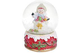 Водяной шар Снеговичок 9см с глиттером BonaDi 129-052
