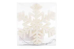Набір декоративних сніжинок 10см, 4 шт, колір - білий BonaDi 787-072