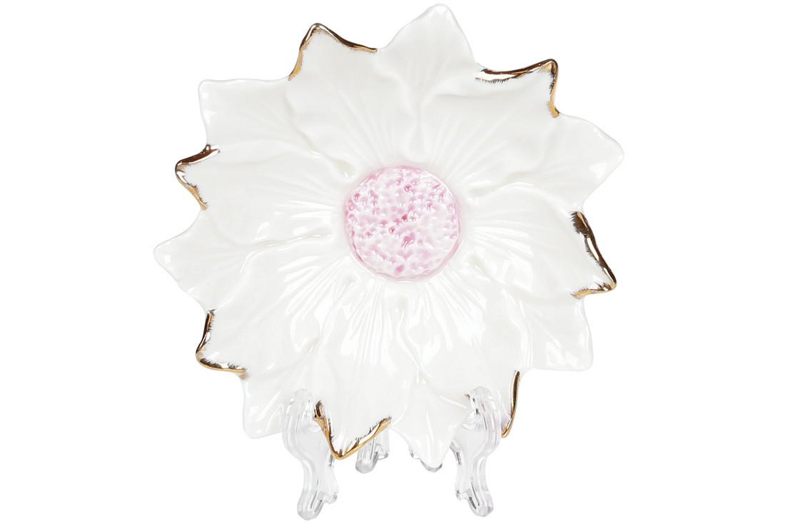 Декоративная подставка для украшений Цветок белый с розовой серединой, 12см BonaDi 727-313
