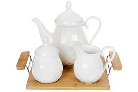 Фарфоровий набір на бамбуковій підставці: чайник, цукорниця і молочник, 30см BonaDi 289-333