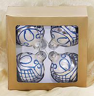 Набор стеклянных шаров (4шт) с синим узором, 8см BonaDi 105-127