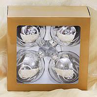 Набір скляних куль (4шт) з візерунком Snow, 8см BonaDi 105-124