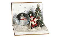 Новогодний декор с LED подсветкой Мальчик и снеговик, 16*16см BonaDi 890-134