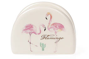 Підставка для серветок керамічна 10см, Рожевий Фламінго з золотим написом BonaDi DM747-FL