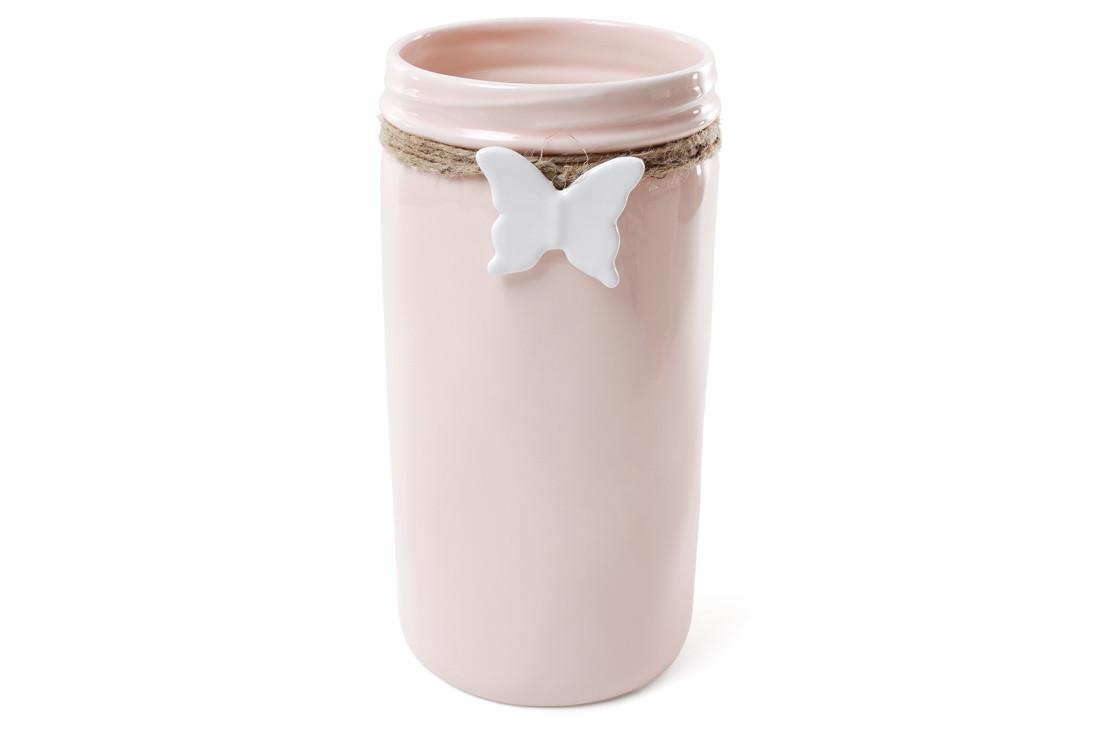 Ваза керамическая с подвеской Бабочка 26 см, цвет - розовый BonaDi 902-141