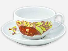 Чайна пара (Чашка 210мл з блюдцем) Янтарь Альпійські квіти 07022 ТМ ДФЗ