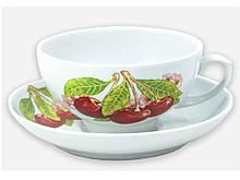 Чайна пара (Чашка 220мл з блюдцем) Рубин Вишня 07959 ТМ ДФЗ