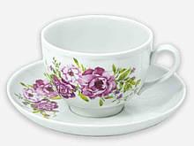 Чайна пара (Чашка 275мл з блюдцем) Гранатовий Олівія 09052 ТМ ДФЗ