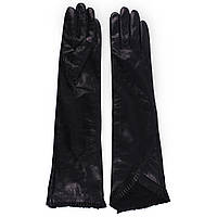 Длинние женские перчатки ( кожаные, черные, зимние, на флисе)